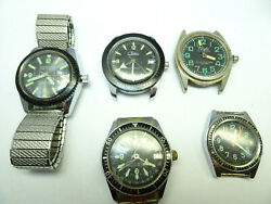 Chateau Customtime Chalet 5 1970's Diver Watches Run And Stop For Restoration