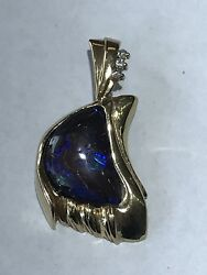 Beautiful 14kt Yellow Gold Solid Genuine Black Opal And Natural Diamonds Pendant