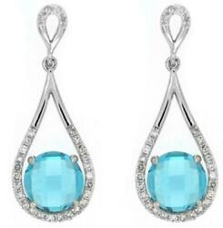 2.42ct Diamond And Aaa Blue Topaz 14kt White Gold Round Tear Drop Hanging Earrings