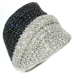 Large 1.72ct Diamond And Aaa Sapphire 14kt White Gold Multi Row Anniversary Ring