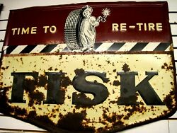 Vintage Original Fisk Time To Re-tire Boy With Candle  Sign