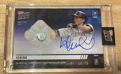 2019 Topps Now Ichiro Game Used Base Relic Autograph Auto /49 Mlb Authenticated