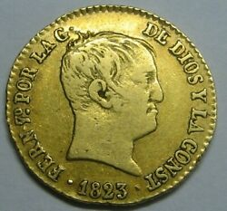 1823 Barcelona 80 Reales Ferdinand Vii Gold Spain Doubloon Spanish Colonial Era