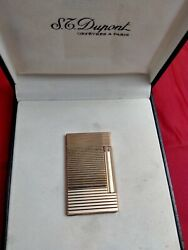 S T Dupont Horizontal Lines Gold Plated Line D Collection Model 17202