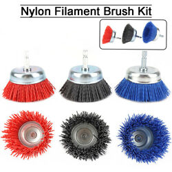 1pc/3pcs 3 Nylon Infused Abrasive Bristle Cup Brush Wheel Wire 1/4 Hex Shank
