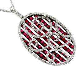 2.90ct Diamond And Aaa Ruby 14kt White Gold Oval Open Filigree Multi Bar Pendant