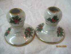 Vintage Ucagco 2 Ceramic Christmas Iridescent Candle Sticks With Holly 16