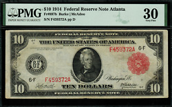 1914 10 Red Seal - Federal Reserve Note Atlanta Fr-897b - Pmg 30 - 14 Known