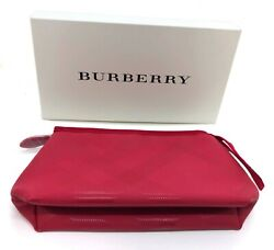 Burberry Large Military Red Pouch Travel Toiletry Makeup Bag with Gift Box $18.99
