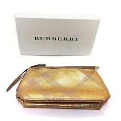 Burberry Large Metallic Gold Pouch Travel Toiletry Makeup Bag with Gift Box $18.99