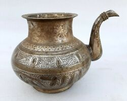 Antique Old Rare Brass Hindu Worship Fine Carving Holy Temple Use Oil Water Pot