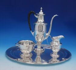 Gorham Sterling Silver Demitasse Tea Set 3pc With Tray Shell Beads Motif 4923