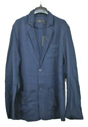 Onia Mens Hugo Jacket Notch Collar Long Sleeves Button Front Rounded Hem Tencel