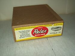 Vintage Enamelware Jones Relax Bed Pan New Old Stock Complete Setup Very Rare