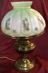 Antique Brass Aladdin Oil Lamp Electric Hand Painted Glass Shade