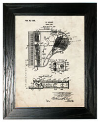 Grand Piano Patent Print Old Look In A Black Pine Frame