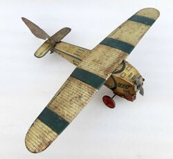 Antique Old Rare Wind Up Working Big Size Airplane Litho Tin Toy Made In England