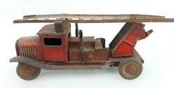 Vintage Old Rare Wind Up Working Fire Department Truck Litho Tin Toy England