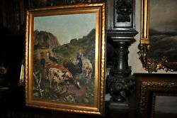 Original Antique Mountain Cattle Drive Dated 1943 Very Striking Oil Painting