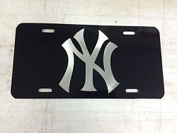 New York Yankees 1 Car Tag Diamond Etched On Aluminum License Plate