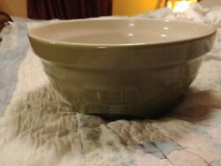 Longaberger Pottery Woven Traditions Large Sage Tip Mixing Bowl 10 Round