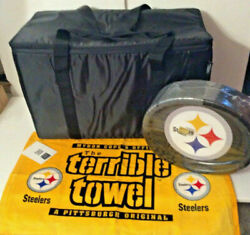 Nfl Steelers Terrible Towel And 55 Plates And Longaberger Cooler