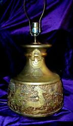 1940and039s California Art Products Egyptian Revival Chalkware Lamp Cartouche Ankh