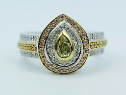 14k White Gold Fancy Green Pear Shape Diamond With A Double Halo Diamond Ring