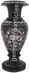 15 Black Marble Flower Inlay Vase Mother Of Pearls Floral Inlay Christmas Gift