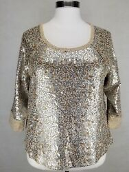 Coldwater Creek Women's Gold Silver Sequin 3/4 Sleeve Pretty Sweater Plus 1x 18