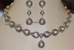 Antique Rose Cut Diamond 10.18ct Silver New Victorian Style Polki Necklace Set