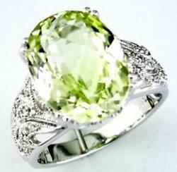 Large 7.68ct Diamond And Aaa Lemon Quartz 14kt White Gold 3d Oval And Round Fun Ring