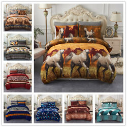 3 Pieces Winter Comforter Set Animal And Floral Printed Design W 2 Pillow Sham