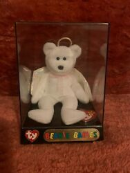 ty 1998 Halo The Angel Bear Beanie Babies Very Rare W/ Brown Nose And Tag Errors