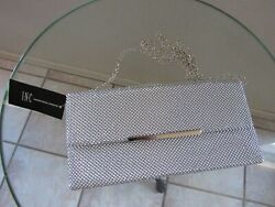 INC International Concepts PARTY SILVER CLUTCH BAG W CHAIN NWT $12.49