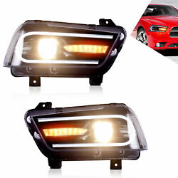 For Dodge Charger 20112012 2013 2014 Led Sequential Headlight Left+right Lamp