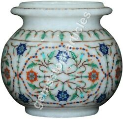 4 Marble Flower Storage Vase Lapis Inlay Marquetry Floral Christmas Gift Dandeacutecor