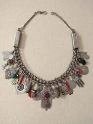 Antique Silver Berber Necklace From Morocco With Old Silver Pendants