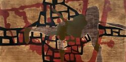 Mexican Art Alberto Castro LeÑero Hand-signed Large Woodcut Original Abstract N2