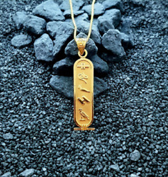 Personalised Gold Cartouche Necklace Your Name Converted Into Hieroglyphic
