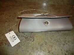 Scarleton Bow Flap Silver Evening Clutch Purse $12.95