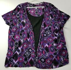 Sag Harbor Womens Short Sleeve Blouse Top 3x Multicolor Abstract Geometric Rayon