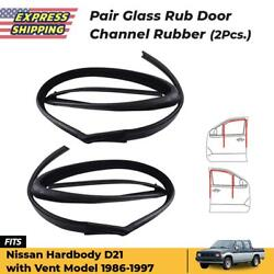 Pair Front Door Glass Run Channel With Vent L+r Fits Nissan D21 Hardbody 1986-97