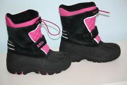 Totes Size 12 Youth Jillian Black Leather Pink Waterproof Winter Snow Boots $12.95