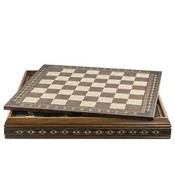 Chess Board 50cm On Case For Standard Themed Chess Sets Walnut And Eco Pearl10386