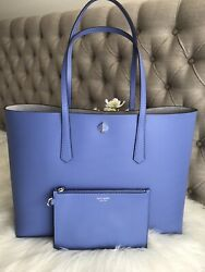 New Kate Spade molly large Blue Forget Me Not Large Tote Wristlet Great gift $149.99