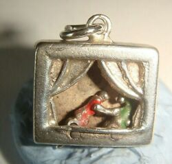 Rare Old Vintage Silver Enamelled Moving Punch And Judy Puppet Show Charm