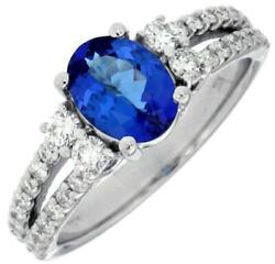 1.95ct Diamond And Aaa Tanzanite 14kt White Gold 3d Oval And Round Engagement Ring