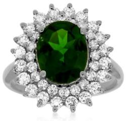 Large 3.45ct Diamond And Aaa Green Garnet 14kt White Gold Flower Engagement Ring