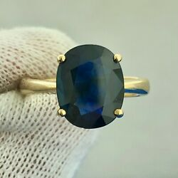 Classic 18k Yellow Gold Sapphire Solitaire September Anniversary Occasion Ring